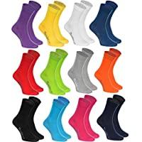 Rainbow Socks - Women Men Colourful Cotton Casual Socks - 12 Pairs - Black White Purple Yellow Navy Blue Red Green Gray Orange Blue Pink Turquoise - Size UK 4-6 / EU 36-38