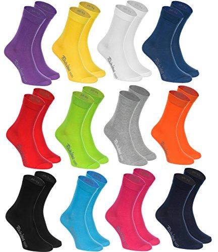 Rainbow Socks 12 Paar Socken, Baumwolle in 12 modischen Farben, in Europa hergestellt, höchste Qualität der Baumwolle mit Zertifikat Öko-Tex, Größen 42 43