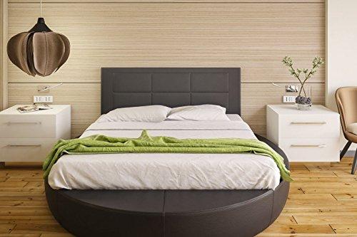 Hogar24 Es Cabecero tapizado, válido para Cama 135 y 150 cm, Negro, 155x55x3