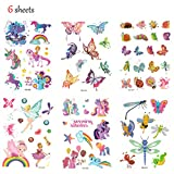 Hippomee Temporary Tattoo for kids 6 Sheets Glitter Tattoo Stickers For Children Kids