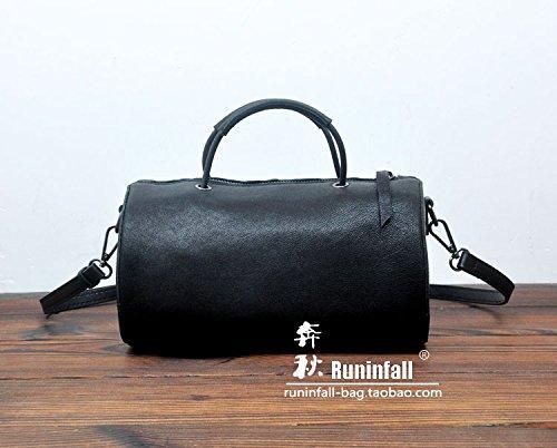 Simple petit sac rond en Cuir bandoulière vintage mouton Tambour créatif sac paquet Black-large