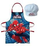 Marvel Ultimate Spider-Man o Vengadores Niños Conjunto de cocinero Delantal de cocina y Sombrero de cocinero, 2 piezas - Rojo