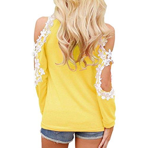 ❤️Damen Langarmshirt, Absolute Frauen Hohlen Weg von der Schulterfrei Lace Rundhals Langarm Bluse Damen Casual Tops Shirt Sweatshirts Pulli Hemd Blusen Streetwear (XXL, Energetisches Gelb) -