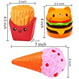 3 Pcs Jumbo Squishies Hamburger Fries Ice Cream Slow Rising Squeeze Kawaii Scented Charms Hand Wrist Toys