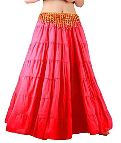 Seawhisper Belly Dance 8 Yard Bohemia Skirt, Swing Skirt, Tiered Maxi Tribal Gypsy Skirt Flared Long Retro Vintage Beach Summer Cotton Dress Costume with Gold Coins Belt Waist Chain (red)