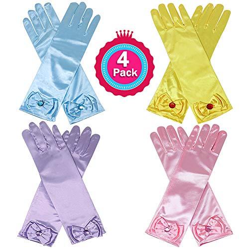 (Casibecks 4 Pairs Belle Prinzessin Dress up Handschuhe Set Cinderella Kostüm Zubehör Kinder Halloween Cosplay Party Bögen Handschuhe für Mädchen (Gelb, Blau, Lila und Rosa))