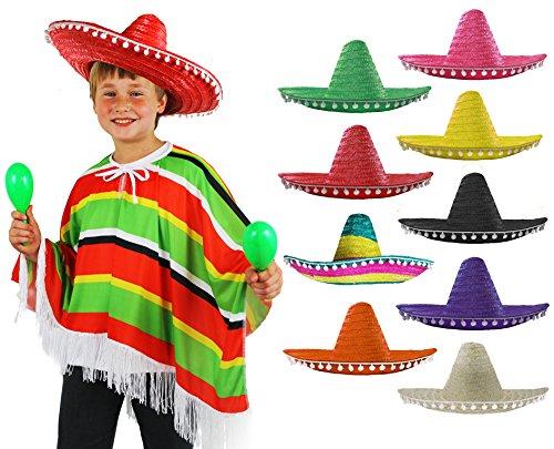 Mädchen Bandit Kostüm - Mexikanischer mehrfarbiger Poncho + Sombrero mit Bommelkante, ideal für Kinder-Kostümparty, für Jungen oder Mädchen - die Sombreros sind in verschiedenen Farben erhältlich