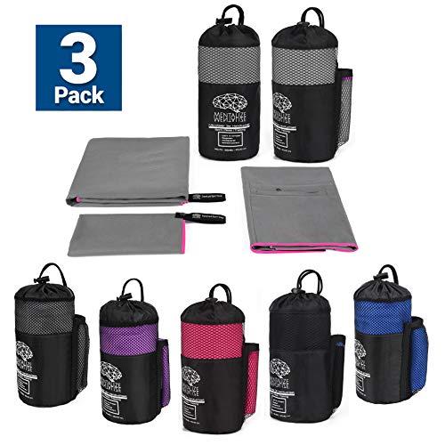 MENTALIZE® Fitness Microfaser Handtücher | 3er Mikrofaser Handtuchset | Badehandtuch | XXL Strandtuch | Reißverschluss-Tasche (Zementgrau - Girly Pink, 3er Set 140x70;100x50 ;40x40cm)