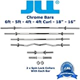 JLL® Weight Bar Chromed Steel 18 in, 4 ft, 4 ft Curl, 5 ft and 6 ft with Free Spin-lock Collars