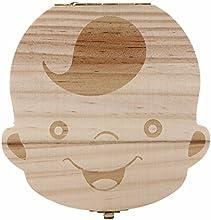 Ularma Caja de almacenaje de madera guardar los dientes de leche para niños chico