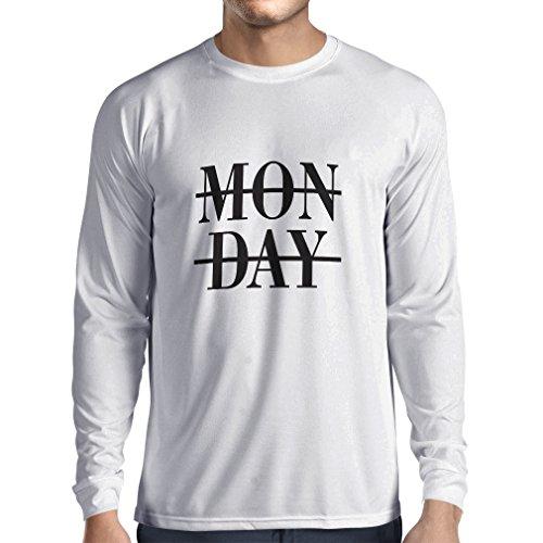T-shirt manica lunga da uomo Oh Shit its Monday! I hate Mondays (Small Bianco Nero)