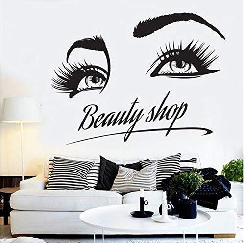 Friseursalon Salon Nagelkosmetik Shop Wandaufkleber Wimpern Muster Kunst Wanddekoration Vinyl Aufkleber 42X54Cm