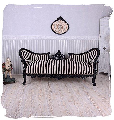 PALAZZO INT Vintage Sofa Schwarz Weiss Streifen Sitzbank Salon Sitzsofa Chateau