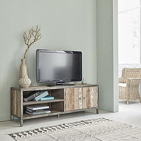 Meuble TV en bois de pin recyclé et métal - Largeur 150 cm - 2 portes + 4 niches - VINTAGE