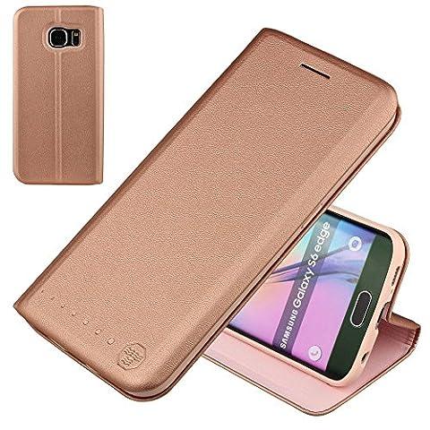 Nouske Lederklapphülle für Samsung Galaxy S6 Edge Hülle Tasche handgefertigt geschwungene Kanten mit Aufsteller und Kartenfach Schutzhülle TPU Cover Pink