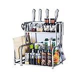 LHR Edelstahl-Küchenregal Lagerregal Liefert Boden Multi-Layer-Arbeitsplatte Lagerung Gewürzregal (Farbe : C, größe : 35cm)