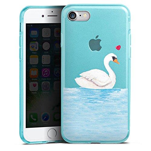 Apple iPhone 8 Silikon Hülle Case Schutzhülle Schwan ohne Hintergrund Liebe Silikon Colour Case eisblau