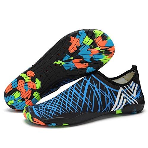 hibote Hommes Femmes Unisexe Chaussures de plage d'été Sports Aquatiques Bains de bain Chaussures antidérapantes respirantes bleu