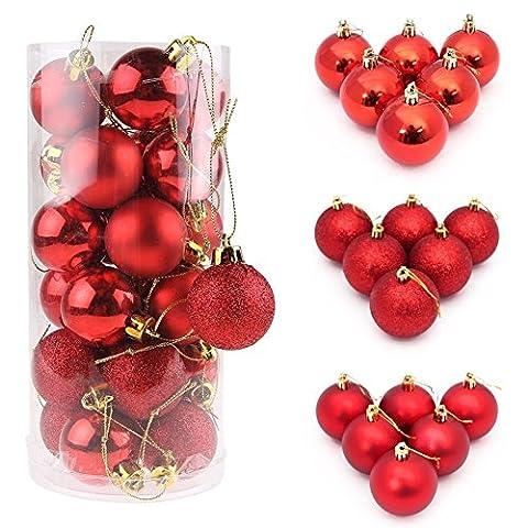 ILOVEDIY 24/48Pcs Boules de Noël en Plastique pour la Décoration Fete Noël (24Pcs - 3cm, rouge)