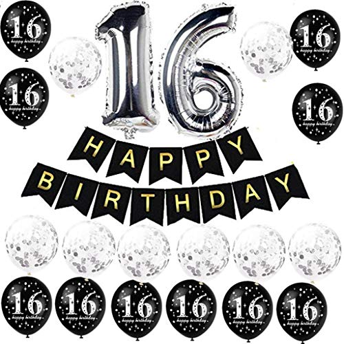 Velynce Luftballons zum 16. Geburtstag, Latex, 30,5 cm, Schwarz, 20 Stück