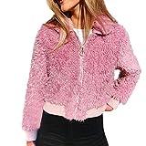 Winter Mantel Damen Briskorry Frauen Plüsch Fell Strickjacke Wollmantel Künstliche Wolle Jacken mit Reverskragen Große Größen Winterjacke Cardigan Langarm Outwear Mode Kurz Mantel