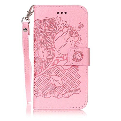 iPhone 6 Coque, iPhone 6 Etui,Ultra Slim Flip PU Cuir Portefeuille Wallet Case Cover Housse Etui avec Fonction Stand pour Apple iPhone 6 -Fleur bleue Rose rose