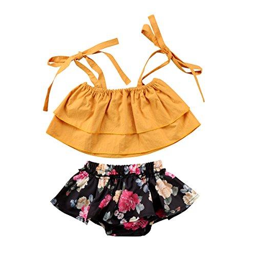 Baby Mädchen Kleine Schwester und Große Schwester Rüschen Tops + Blume Shorts Rock Kleid Kleinkind Outfits Kleidung Set (Kleine Schwester, 12-18 Monate) -