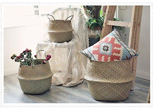 Seegras-Wäschekorb mit Griffen, 3-teiliges Set, 27x 24cm, 32x 27,9cm, 36x 32cm Badezimmer-speicher-körbe