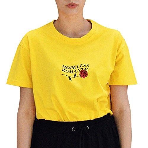 Ulanda Damen Sommer Shirt Teenager Mädchen Casual Baumwolle Bluse Loose Kurzarm Rose Druck Muster Nothing Tops Hemd Oberteile Pullover T-Shirt (Gelb, XL)