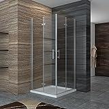 Dusche Duschkabine Falttür Duschabtrennung Eckeisntieg Duschtür Eckdusche Duschwand aus Sicherheitsglas 100x80cm