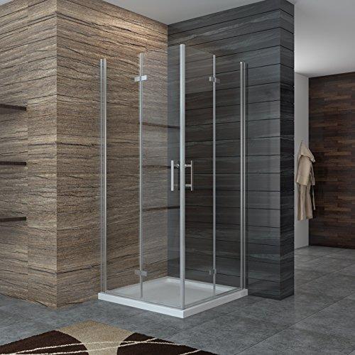 Dusche Duschkabine Falttür Duschabtrennung 80x80cm Eckeisntieg Duschtür Eckdusche Duschwand aus Sicherheitsglas