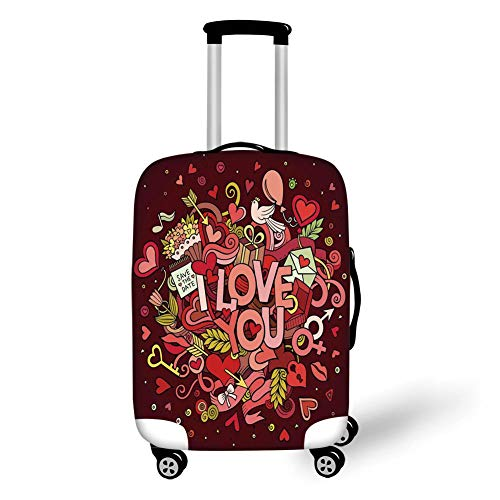 Suitcase Protector,Romantic,Retro Funky I Love You Quote on Hearts Arrows Baloons Birhday Image,Coral Burgundy Yellow,for TravelXL 29.9x39.7Inch ()