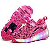 LHWAN Skate Roller unisex, pattini a rotelle luminosi a led con led lampeggianti scarpe ginnastica colorate Sneaker scarpe ballo con illuminazione a led Sneaker scarpe outdoor,Black,38EU