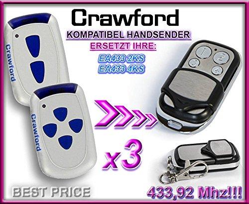 Preisvergleich Produktbild 3 X CRAWFORD EA433 2KS / CRAWFORD EA433 4KS Kompatibel Handsender, 433.92Mhz rolling code keyfob