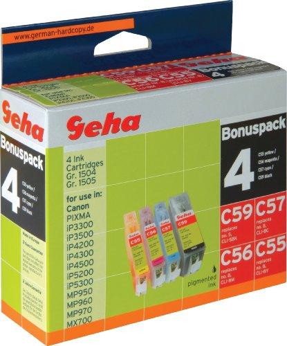 4 Geha Tintenpatronen im Multipack für Canon ersetzt Nr. CLI-8 farbig + PGI-5BK schwarz