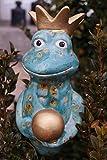 Keramik Frosch Fridolin mint für Stab 17 cm Krone Gartenstecker Figur Handarbeit