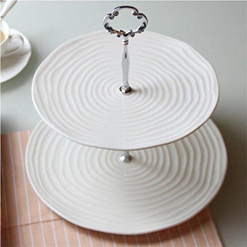 2-tier-bianco-porcellana-rotonda-torta-stand-piastra-di-servizio-quadrato-silver-flower-double-layer