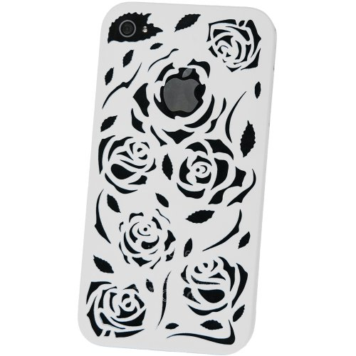 Carved pattern rose slim-case coque blanc pour apple iPhone 4/4S
