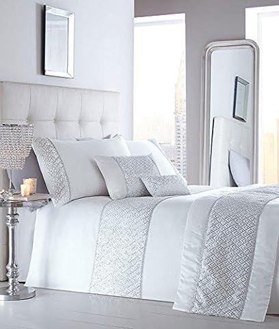 KING SIZE LUXURY DUVET SETS Grey or white with silver sequin & diamante trim (Duvet Set + Cushion + Runner, White)