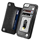 Etbotu Shockproof Leather Protective Case Cover for iPhone X 7/8 7/8 Plus, Multifunction with Magnetic Wallet Case Card Slot