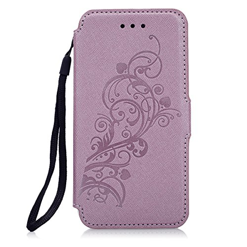 Handyhülle Hülle iPhone 7,SainCat Ultradünne Ledertasche Brieftasche im BookStyle PU Leder Wallet Case Lederhülle Folio Reliefprägung Rebe Schutzhülle Hülle Bumper Handytasche(Schale Transparent Soft  Rosengold