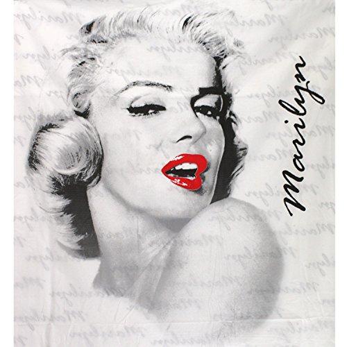 Ferpil Pop Vintage, Marilyn Monroe, Bettwäsche Linon, feine Baumwollqualität, weiss schwarz rot, Bezug 160 x 210 Kissen 90 x 60 [17813]