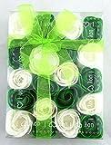 Baderosen in Geschenkverpackung 20 Stück Rosen Grün/Weiß 2-Farbig Seifen Box-Set Deko Gästeseife