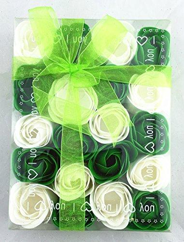 gaesteseife Baderosen in Geschenkverpackung 20 Stück Rosen Grün/Weiß 2-Farbig Seifen Box-Set Deko Gästeseife