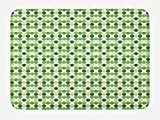 Doormats Green Bath Mat, Circles of Various Tones Shades and Tints of Green Retro Style Geometrical Pattern, Plush Bathroom Decor Mat with Non Slip Backing, 23.6 X 15.7 Inches, Green Cream