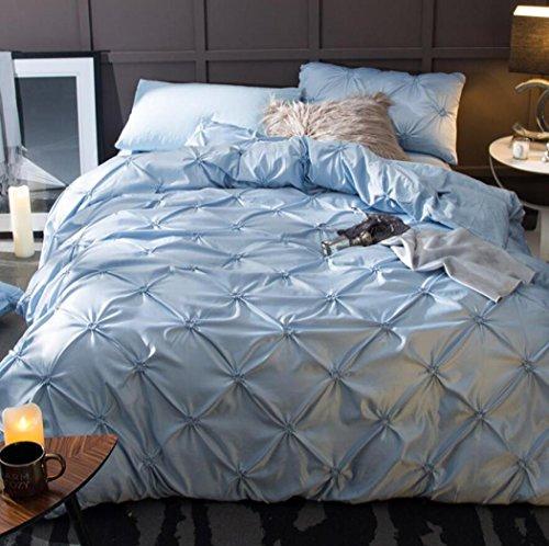 Bettbezug Sets Reine Farbe gewaschene Seide Spannbetttücher, Persönlichkeit Mode Baumwolle 4 Stück Bettwäsche Bettwäsche,D,King 220*240cm