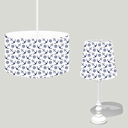 Dannenfelser - Maritimes Lampen Set AHOI 1x Tischlampe Höhe 44,5cm + 1x Hängeleuchte Ø 35cm - Nachttischlampe mit Holzfuß weiß Shabby Look, Textil Lampenschirme #15672