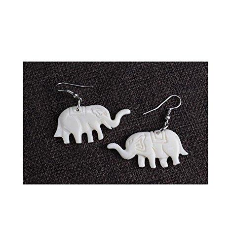 Pendientes étnicas en huesos, diseño de elefantes