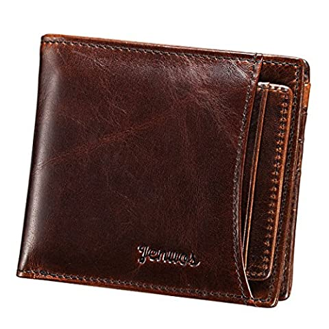 Men's Wallet, Jenuos Genuine Cowhide Leather Wallet for Men with Card Holder, Gift Boxed (QB-FG-DB)