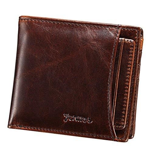 Herren Geldbörse, Jenuos Portemonnaie Geldbeutel Echte Leder-Geldbörse für Männer mit Kartenhalter, Börse, Geschenk-Box (QB-FG-DB) (Echt Guter Mann)